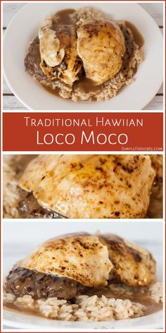 This classic Hawaiian comfort food dish has all of the elements: coconut rice, beef patties, rich gravy and egg. Beef Recipes, Cooking Recipes, German Recipes, Chicken Recipes, Recipies, Hawaiian Dishes, Hawaiian Recipes, Samoan Food, Luau Food