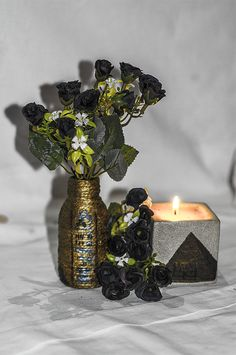 ~ click pe site pentru a cumpăra ~ ❁ ~ Golden Egyptian style decorated bottle. Those black roses and hieroglyphs remind me of something occult. Flower Vases, Flowers, Black Roses, Handmade Home, Occult, Dollar Stores, Twine, Egyptian, Create Your Own