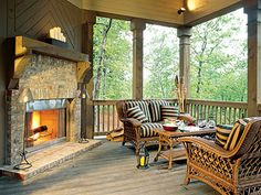 Outdoor fireplace on porch