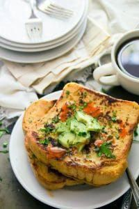 Savory vegan French toast puts a new spin on breakfast! Perfect with favorite savory toppings. French Toast Without Eggs, French Toast Sticks, Savoury French Toast, Vegan French Toast, Ezekiel Bread, Substitute For Egg, Egg Toast, Vegan Breakfast, Salmon Burgers