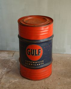 Vintage Gulf Steel Barrel.  The orange and blue label on this barrel is fantastic.  Many of these barrels saw a lot of abuse over the years, making it difficult to find one with such saturated colors. With its time worn patina, this barrel is an excellent piece of vintage gas station memorabilia.   $400.00
