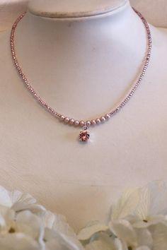 Pink Freshwater Pearl Seed Bead Choker Dainty Swarovski Light
