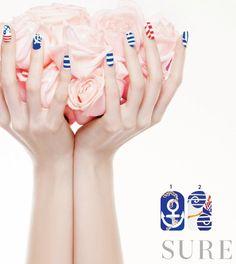 experts' tips  네일리스트가 제안하는 마린 패턴 팁  1.블루 컬러에 닻 그리기 2.파도와 돛단배를 형상화하기