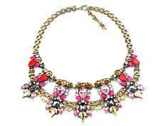 Red Crystal Statement Necklace Gold Bib Chunky Necklace by eBijoux, $19.99