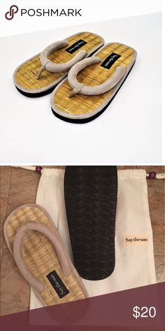 SAY THE SUN TATAMI SLIPPERS Cement color Vegan Faux Leather. Foot bed is made of natural Tatami✨NEVER WORN✨Retro chic imitation of the Karate Zori slipper. Sweet to wear outside but also could make a great house slipper Say the Sun Shoes Slippers