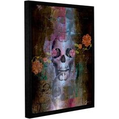 ArtWall Greg Simanson Skull Gallery-Wrapped Floater-Framed Canvas, Size: 36 x 48, Brown
