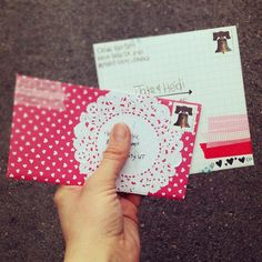doily as mailing label. clever! washi tape, too!