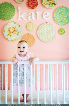 DIY nursery decor. Embroidery hoops!