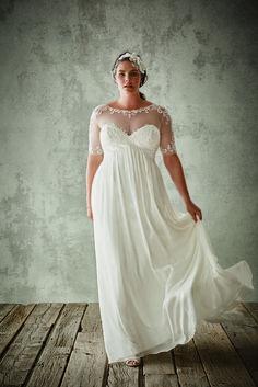 David's Bridal Chiffon Sheath With Illusion Sleeves / http://www.himisspuff.com/plus-size-wedding-dresses/4/