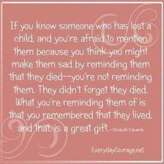 Just believe it. Even if I get sad the happiness about you remembering my child is certainly worth it