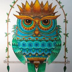 Take a peek at this great artwork on Johanna Basford's Colouring Gallery! Johanna Basford Books, Johanna Basford Coloring Book, Christmas Owls, Christmas Colors, Coloring Books, Coloring Pages, Colored Pencils, Crayons, Gallery