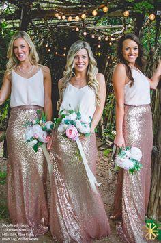 Heidi Top, Chiffon Winter White | Mila Skirt, Sequin Rose Gold