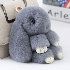 Cute Mini Rabbit Fur Pom Pom Key Chain  #handbags #bodychain #cateyeglasses #trends #unicorn #sexyaf #lady #girlboss #crystals #date