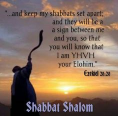 """""""...and keep My shabbats set apart; and they will be a sign between Me and you, so that I Am YHVH your Elohim.""""  ~ Ezekiel 20:20 ( Shabbat Shalom)"""