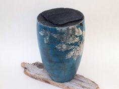 Raku Keramik mit Cyanotypie, Cyanotype on raku ceramic vessel