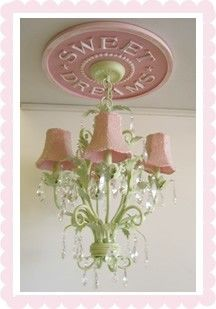 Marie Ricci Children's Ceiling Medalions - traditional - kids lighting - boston - by Marie Ricci For Elise, Kids Lighting, Ceiling Medallions, Little Girl Rooms, My New Room, Girls Bedroom, Bedrooms, Pretty In Pink, Pink And Green