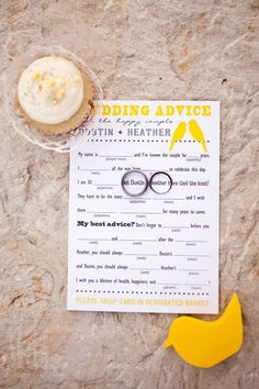 Very Cute! Fill-In-The-Blank Wedding Advice Made by Bride @ 2 Little Yellow Birds