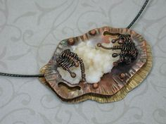 Mixed Metal Dimensional Copper Pendant with selenite specimen by SilverSeahorseDesign