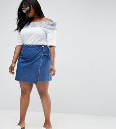 b1be12d248d ASOS CURVE Denim Wrap Skirt in Midwash Blue - Blue Denim Wrap Skirt, Denim  Skirts