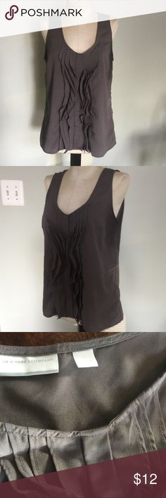 New York & co Summer Top Cute sleeveless Top by New York & Co ,Sz Small.Gray with a Ruffled front center.Very nice condition. New York & Company Tops Tunics