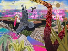 The murals and paintings of Aaron Glasson reveal novel, surreal worlds, with vivid colors, animals, and geometry. The works evoke folk and fairy tales...