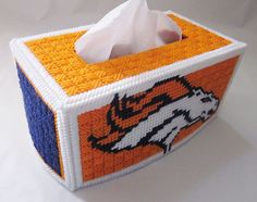 Denver Broncos wide tissue box cover in plastic by AuntCCcreations, $4.00