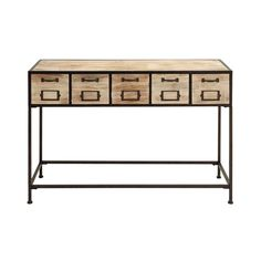 Natural-finished Wood and Metal Console Table (Console Table), Brown
