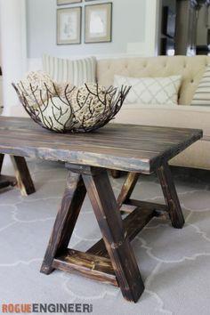 Sawhorse Coffee Table | Free DIY Plans | rogueengineer.com/ #SawhorseCoffeeTable #CoffeeTableDIYplans