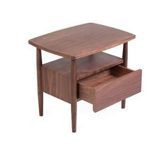 Sean Dix Dowel End Table - The Dowel Nightstand features clean lines and rounded corners. This contemporary modern nightstand is designed by Sean Dix and is bench crafted to perfection with walnut wood. The Sean Dix Dowel Nightstand features a tiered table top and a smooth gliding drawer for ample bedside storage.