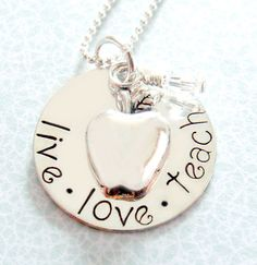 Teacher Hand Stamped Necklace - Hand Stamped Jewelry - Sterling Silver. $36.00, via Etsy.