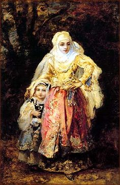 oriental woman and her daughter - by narcisse diaz , frensh - 1865