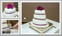 Heart shaped 3 tier Wedding cake with beautiful roses. A blend of burgundy and fuschia.