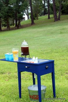 Old Sewing Table Into Drink Station with Drain | The Weekend Country Girl featured on Remodelaholic.com #furniture #revamp #drinkcooler