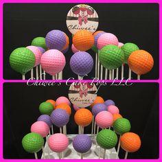 Golf balls cake pops Neon golf balls cake pops golf cake pops