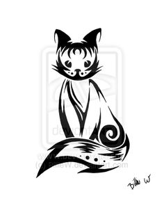 """This is the classic Persephone pose, but I want something less """"tribal"""", more e-sumi-ink style...but the curve and directions are right.  Tribal Cat by *BillieW on deviantART"""