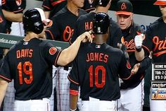 Chris Davis giving Adam Jones a wet willy! Chris Davis, Adam Jones, Orioles Baseball, Baltimore Orioles, Detroit, Mlb, Ravens, American, Athletes