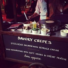 YUM, maybe dinner options AND desert options Savory Crepe #Wedding #Food #Station