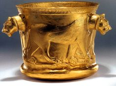 Achaemenid golden bowl with lion imagery. The Achaemenid Empire, also known as the First Persian Empire, was founded by Cyrus the Great in ...
