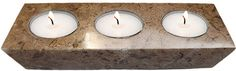 Elegant fossil-stone 3-hole candle holder measuring at 1.38 x 7 x 2.56 inches (3.5 x 18 x 6.5 cm).