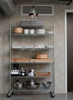 DiSC Interiors Gardein Industrial Kitchen with Marimekko wallpaper Bakery Kitchen, Kitchen Nook, Kitchen Shelves, New Kitchen, Kitchen Storage, Green Kitchen, Kitchen Ideas, Pantry Storage, Kitchen Interior