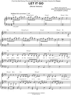 """Let It Go (Movie Version)"" from 'Frozen' Sheet Music - Download & Print"