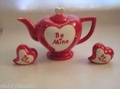 ❤¸¸.•*¨*•♥ New #Ceramic ❤ Be Mine ❤ #Heart Shaped #Teapot & Salt & Pepper Shakers ♥¸¸.•*¨*•❤ ❥ ❥  http://r.ebay.com/O63szD #ebay #valentine