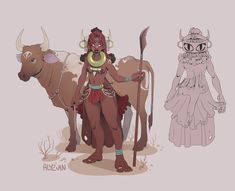 A cow herder from the himba tribe for this month's CDC They paint eyes on cows' butts to protect them from lions ! African Tribes, African Art, Daisy Drawing, Character Design Challenge, Sword And Sorcery, 2d Art, Dungeons And Dragons, Female Art, Character Art