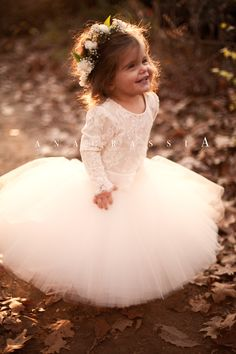 Anagrassia Fall Wedding Flower Girl Dresses: Blush, Ivory, Nude, White, and Black Lace Leotards with Tulle skirts and Tutus Order at www.anagrassia.com