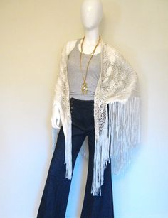 Over a longsleeve top for fall. #Vintage Woven #White #Boho #Wedding Shawl