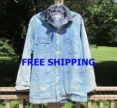 Vintage Denim Jacket Mens Blanket Lined Sears by BreezyJunction, $49.00