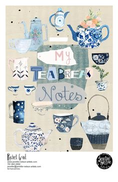 """Notebook Cover Design """"My Tea Break Notes"""" Blue and White pottery. Design&Illustration by Rachel Grant Rachel Grant, Tea Illustration, Notebook Cover Design, Neon Nights, Notes Design, My Tea, Illustrators, Tea Party, Art For Kids"""