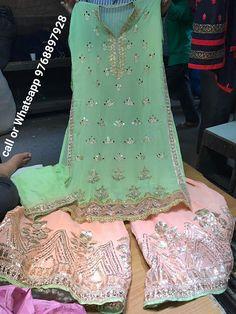 Rajasthani Gota Patti work Suits: Georgette kameez Georgette plazo pure dupatta. Blu...