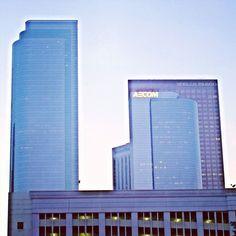 #street #skyline #losangeles #citylife #dtlalife #streets #night #lights #downtownla #city #view #skyscrapers #building #windows #streetphotography #photography #dtla #sky #blue #purple #aecom