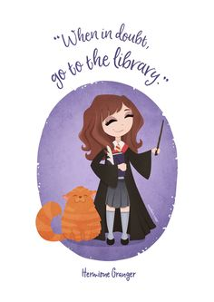 Hermione Granger Illustration - when in doubt, go to the library - by another view Harry Potter Drawings, Harry Potter Anime, Harry Potter Hermione, Harry Potter Quotes, Harry Potter Diy, Harry Potter World, Hermione Granger, Luna Lovegood, Harry Potter Ilustraciones